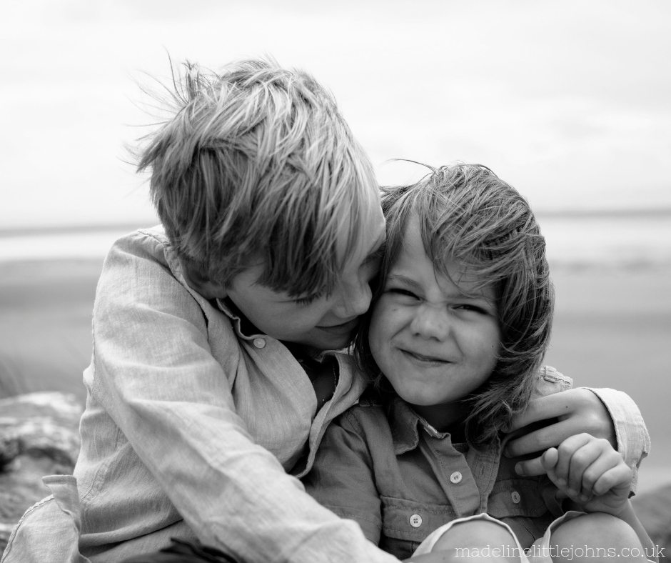 Family lifestyle photographer Swansea bay black and white